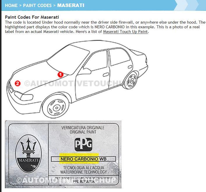Maserati Ghibli Touch Up Paint
